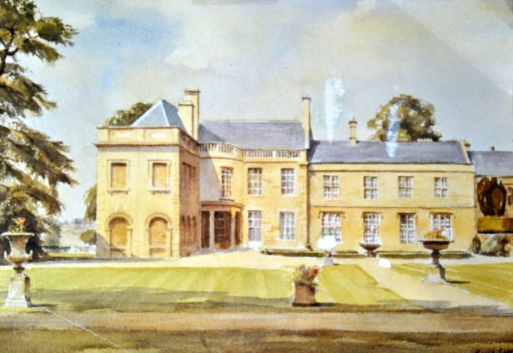 Sisi selatan Lamport Hall- dilukis oleh Roger Corfe