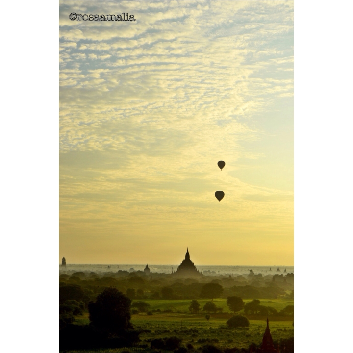 Surreal sunrise view over Bagan, Myanmar