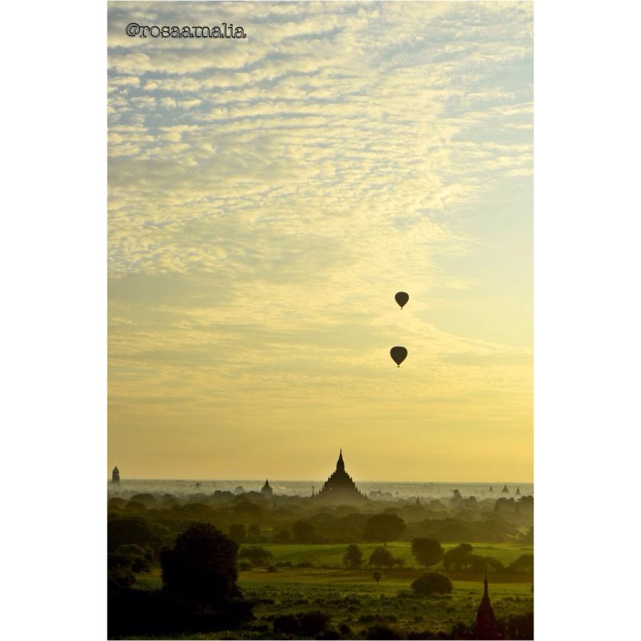 Surreal sunrise view over Bagan, Myanmar